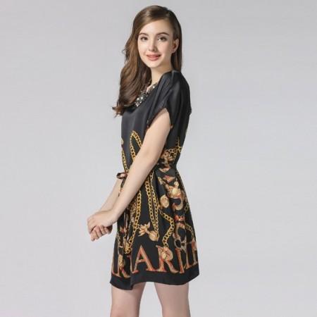 霓贝真丝欧式古典印花连衣裙