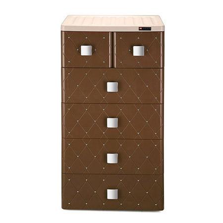海兴也雅经典欧式5层抽屉收纳柜 深咖色